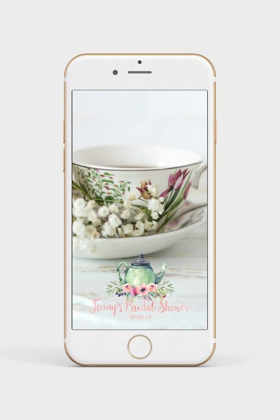 tea party snapchat filter bridal shower geofilter bridal | etsy