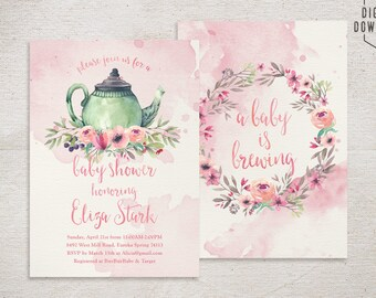 tea party baby shower invitation, teapot invitation, printable baby shower invitation, floral girl baby shower invite, baby is brewing