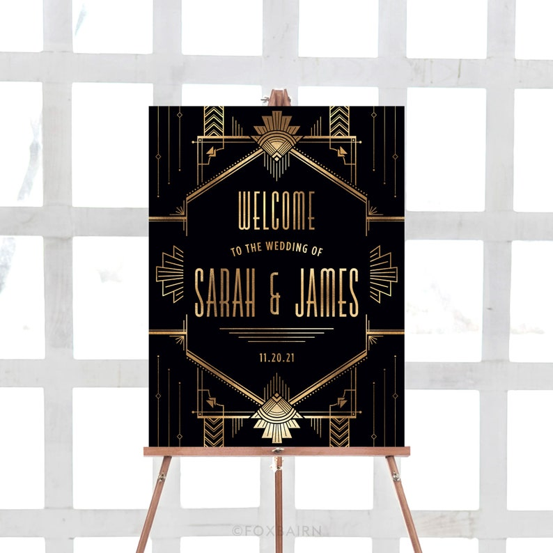 Gatsby Wedding Welcome Sign Gold and Black Roaring 20's image 0