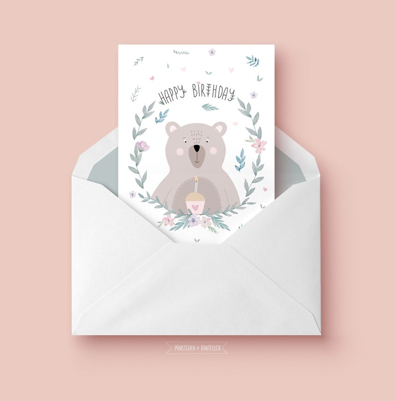 Birthday Card Small Bear Etsy