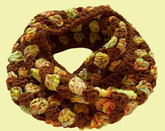 SPECKLED NEON COWL - retro scarf, hand crocheted wool cowl, hand dyed, brown and yellow scarf, colorful floppy scarf cowl, infinity scarf