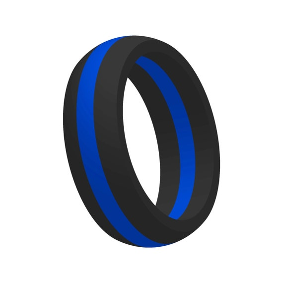 Men S Thin Blue Line Silicone Wedding Band Ring Flexible Etsy