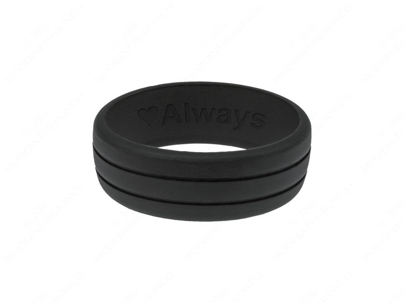 Personalized Mens Silicone Wedding Ring Band Engraved Flexible image 0