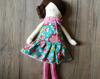Fabric Doll - Handmade doll - Fancy cloth doll - flower cloth - Cotton doll - little girl doll - soft doll - Brown hair doll - braid hair