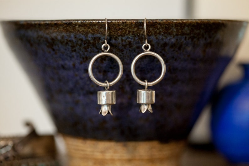 Modern Sterling Silver Squash Blossom Hoop Dangle Earrings
