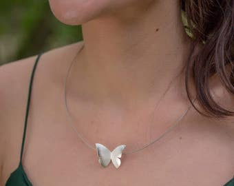 Gold butterfly pendant, sterling silver butterfly necklace, small butterfly jewelry, minimalist jewelry, woman gift.