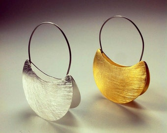 African jewelry, moon earrings, dangle earrings made with silver ang gold, african earrings for woman, woman gift.