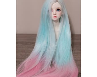 BJD handmade gradient/ ombre color long straight wig turquoise & pink