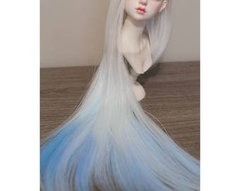 BJD handmade gradient/ ombre color long straight wig white & blue