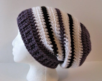 Womens Teens Crochet Slouchy Hat, Womens Stripe Slouchy Beanie Hat, Purple White Black Stripe Slouchy Hat, Soft Womens Purple Stripe Hat