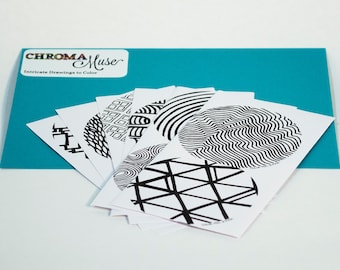 ChromaMuse Collection 1 Sticker Pack: 12 Intricate Drawings To Color (Hand Drawn Adult Coloring)