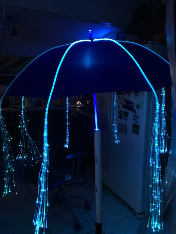Light Up Umbrella Shaft with Fiber Optic Light Strands Glows for OVER 10  Hours!