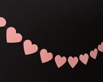 Large Pink Glitter Heart Garland, Baby Shower Garland, Wedding Decoration, Bridal Shower, Gender Reveal, Party Decorating, Heart Garland