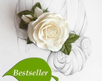 Ivory flower rose hair comb Floral hair clip Wedding barrette Ivory bridal headpiece Rustic wedding hair piece Bridesmaid hairpiece gift