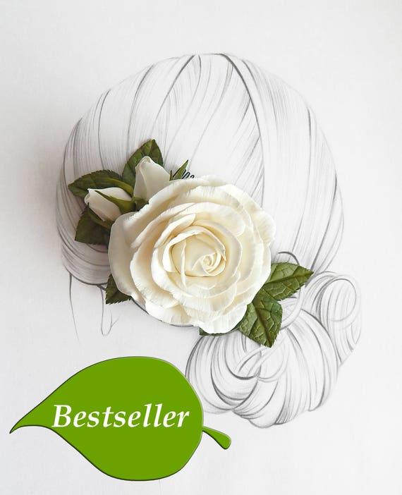 Ivoire Fleur Rose Cheveux Peigne Cheveux Clip Mariage Barrette Parure De Mariage Ivoire Mariage Cheveux Piece Cadeau De Demoiselle D Honneur