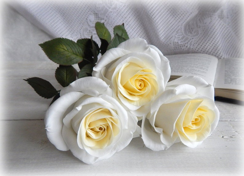 How To Make A Wedding Bouquet With Artificial Flowers.White Bridal Bouquet Artificial Real Touch Roses Fake Wedding Etsy