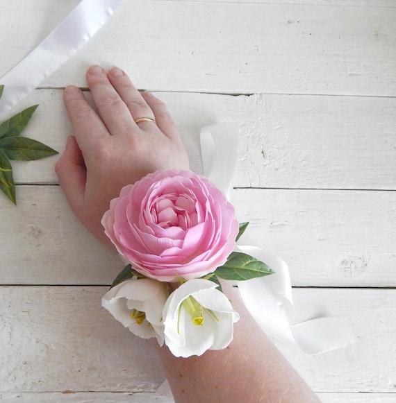 Peony Flower Corsage Lisianthus Prom Wrist Corsage Flower Girl Etsy
