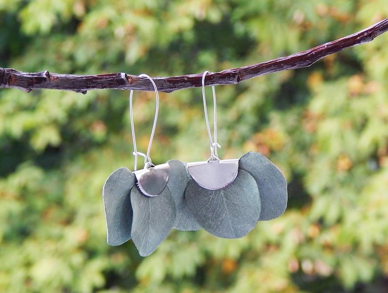 Green eucalyptus earrings Greenery leaf earrings Beach wedding party Botanical floral jewelry