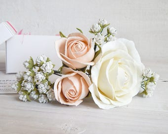 Real touch flower hair pins Baby breath flower hair piece Blush pink wedding head piece Peach ivory small roses Flower headpiece Gypsophila