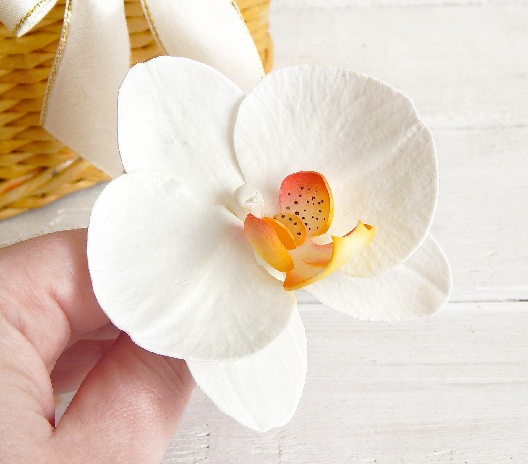 Hawaii flower hair piece white orchid hair clip bridal etsy zoom izmirmasajfo