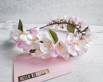 First communion headpiece White flower crown Wedding headband Apple blossom crown Flower girl head piece