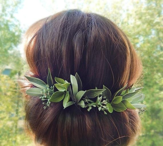 Green leaves hair pins Greenery greek hair