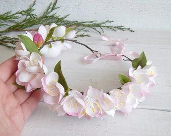 White flower crown, Apple blossom crown, Floral headpiece, Girl head band, Bridesmaid gift, Bridal wreath, Apple tree wreath, Women headband