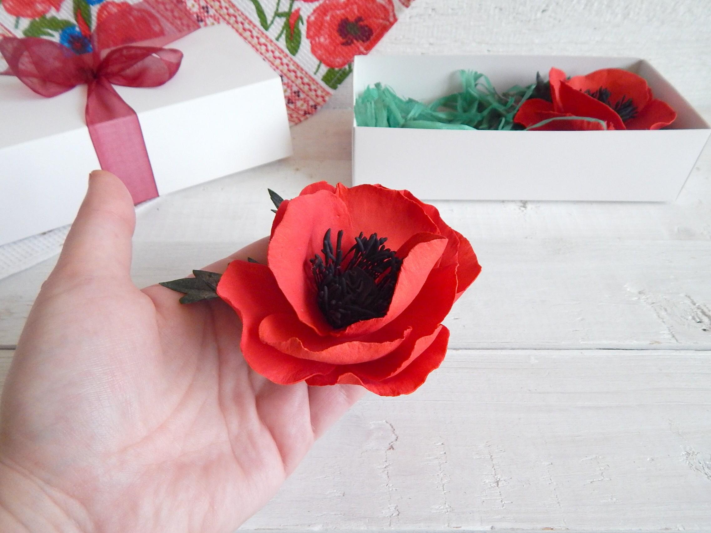 Veterans Day Poppy Hair Clip Brooch Poppy Pin Red Bridal Etsy