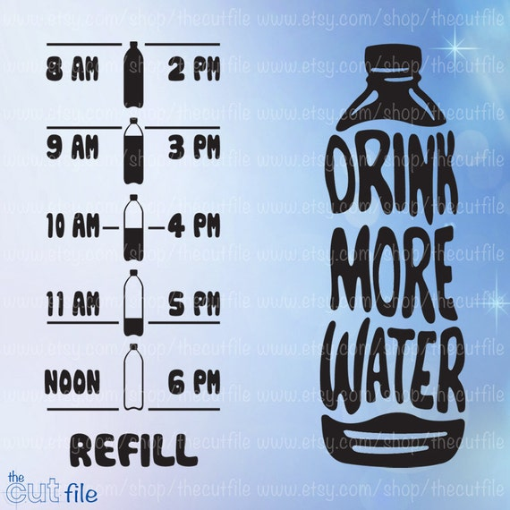 26d993b064 Drink More Water svg Water bottle front & back motivation | Etsy