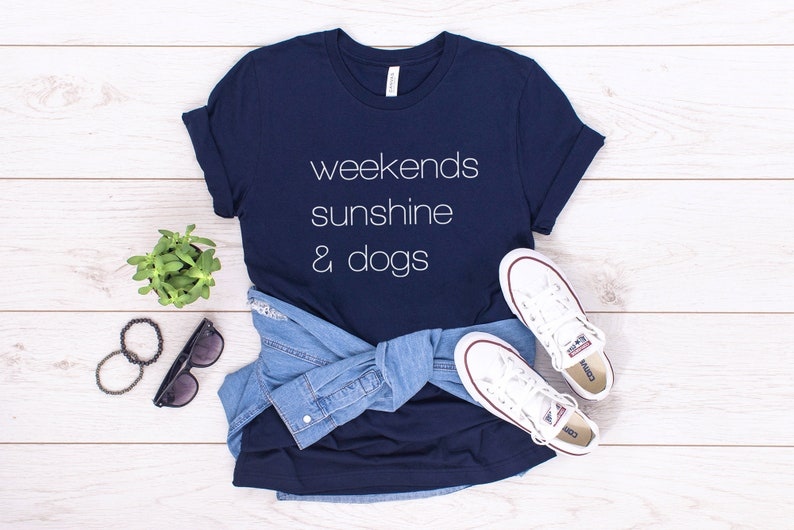 Weekends Sunshine and Dogs t-shirt for dog lovers Navy
