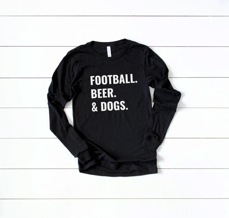 Long Sleeve Football Shirt for Dog Lovers Black