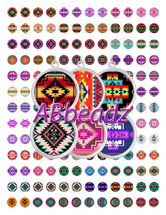 image about Native American Designs Printable known as 1/2 Inch Spherical Indigenous American Programs Collage Sheet