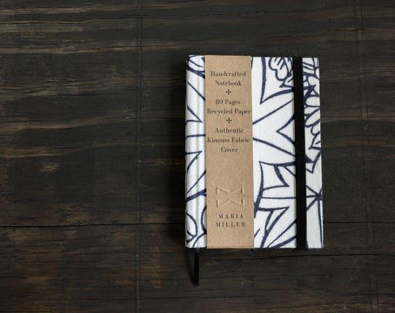 Small Handmade Hardcover Notebook with Kimono Fabric Cover