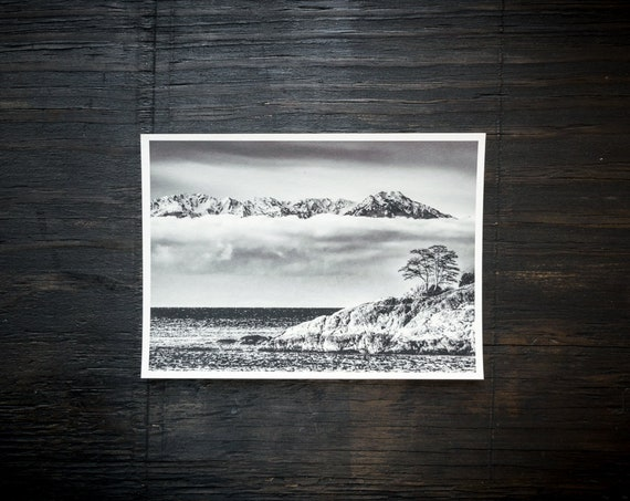Original Art Print || Olympic Mountain Range from Victoria
