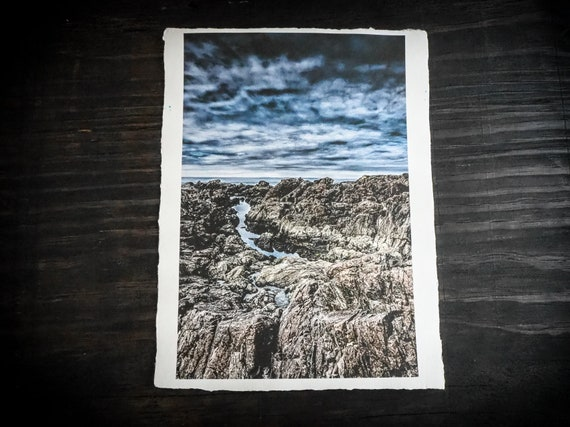 Sale  ||  Original Art Print  || 'Of The Sea'  ||  Handmade Recycled Paper