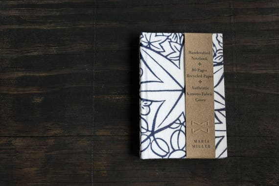 Small Handmade Hardcover Notebook with Kimono Fabric Cover
