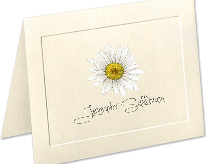 Featured listing image: Daisy Stationery, Embossed panel personalized stationery, personalized linen note cards, daisy note cards, thank you cards, notecards