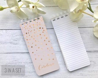 Blush Pink Notepad, Spiral Bound, Set of 3 Personalized Note Pads, To-Do Lists, Grocery List, Co-Worker Gift, Stocking Stuffer, Rose Gold
