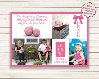 Photo Christmas Cards, Breast Cancer Christmas Cards, Pink Christmas Cards, Printed Photo Christmas Cards, Photo Wrapping Paper