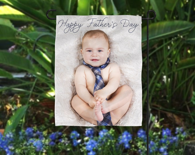 Featured listing image: Personalized Father's Day Gift, Photo Flag, Grandpa Photo Gift, Personalized Flag, Poppy Photo Gift, Father's Day Photo Gift, Gift From Kid