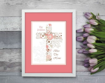 Cross Artwork, Cross Print, Religious Artwork, Religious Gift, Gift for Nun, Housewarming Gift, Personalized Artwork, Personalized Cross