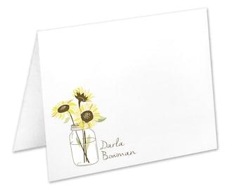 Personalized Sunflower Stationery, Sunflower Note Cards, Flowers In A Mason Jar, Mason Jar Stationery, Sunflower Stationary, Sunflower Cards