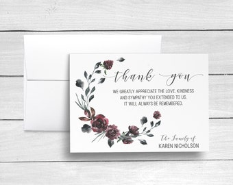 Sympathy Acknowledgement Cards, Bereavement Cards, Funeral Thank You Cards, Sympathy Thank Yous, Funeral Cards, Personalized Funeral Cards