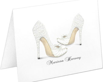Personalized Wedding Note Cards, Stationery Set, Thank You Cards, Bridal Shoes, White High Heels, Bridal Party Gift, Wedding Stationary Set