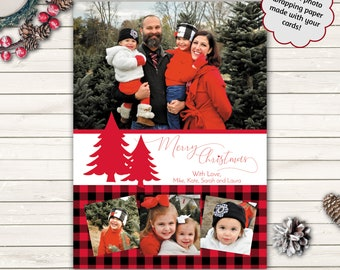 Printed Photo Christmas Cards, Custom Christmas Cards, Buffalo Plaid Holiday Cards, Photo Wrapping Paper, Print Ready Photo Christmas Cards