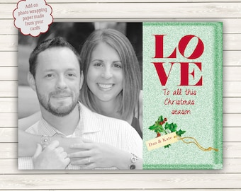Photo Christmas Cards, Philadelpia Love Park, Photo Wrapping Paper, Holiday Photo Card, Love Park Christmas Card, Engagement Christmas Card