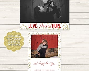Christmas Photo Cards, Two-Sided Photo Christmas Cards, Printed Christmas Cards, Love Peace Hope Holiday Cards, Photo Wrapping Paper