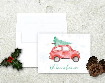 Christmas Tree on Car, Christmas Card, Oh Tannenbaum, Oh Christmas Tree, German Christmas Card, Vintage Christmas Card, Red Volkswagon