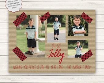 Washi Tape Christmas Cards, Buffalo Plaid Christmas Cards, Printed Christmas Cards, Photo Christmas Cards, Oh So Holly Christmas Cards