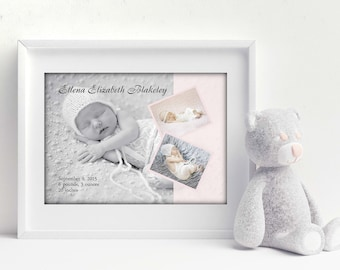 Baby Birth Announcement, Newborn Gift, New Baby Artwork, Baby Birth Stats, Personalized Baby Artwork, Baby Photo Artwork, Nursery Artwork